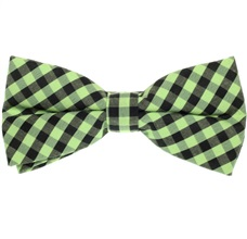 Black and Green Vichy Checks Bow Tie