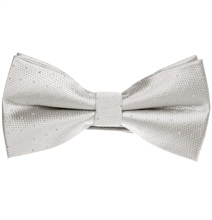 Pearl Grey Bow Tie with Silver Dots