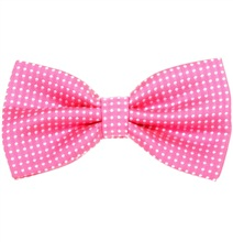 Fuchsia Bow Tie with White Dots