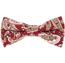 Garnet Bow Tie with Green and Beige Cashmere