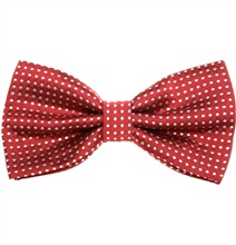 Garnet Bow Tie with White Dots