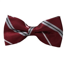 Garnet Bow Tie with Grey Stripes