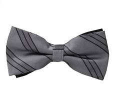 Grey Bow Tie with Black Stripes
