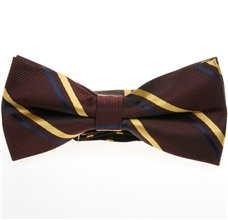 Brown Bow Tie with Golden Stripes