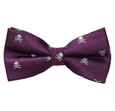 Purple Bow Tie with White Skulls
