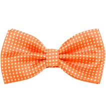 Orange Bow Tie with White Dots
