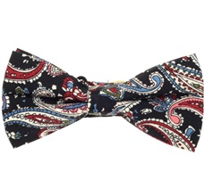 Black Bow Tie with Garnet, White and Blue Paisley