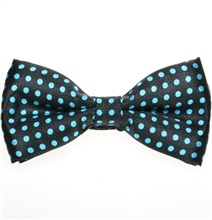 Black Bow Tie with Turquoise Dots