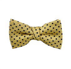 Yellow Boy's Bow Tie with Dark Blue Dots