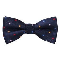 Blue Boy's Bow Tie with Multicolored Dots