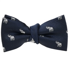 Dark Blue Boy's Bow Tie White Elephants