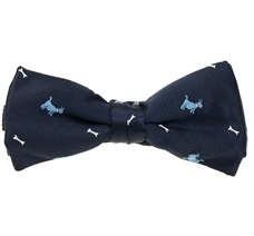 Dark Blue Boy's Bow Tie with Dogs