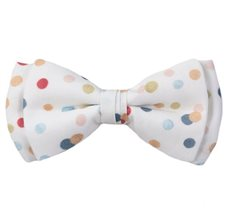 White Boy's Bow Tie with Dots