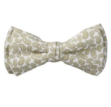 White Boy's Bow Tie with Green Paisley