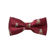 Burgundy Boy's Bow Tie with Teddy Bear