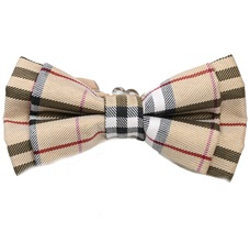 Beige Tartan Checked Boy's Bow Tie