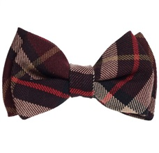 Brown Checked Boy's Bow Tie