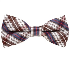 Brown and Blue Tartan Boy's Bow Tie