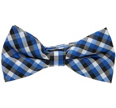 Royal Blue and Black Vichy Checked Boy's Bow Tie