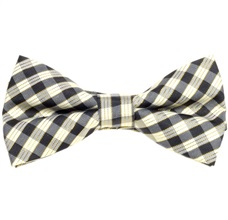 Beige and Black Vichy Checked Boy's Bow Tie