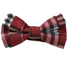 Bordeaux and White Tartan Boy's Bow Tie