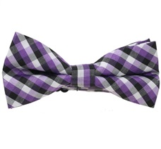 Black and Purple Tartan Boy's Bow Tie