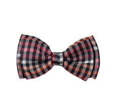 Black and Orange Vichy Checked Boy's Bow Tie