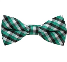 Black and Green Tartan Boy's Bow Tie