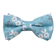 Blue Boy's Bow Tie with Flowers