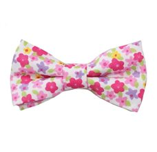 White Boy's Bow Tie with Pink Flowers