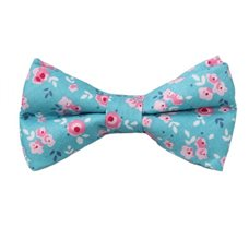 Turquoise Boy's Bow Tie with Flowers