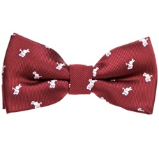 Garnet Boy's Bow Tie with White Rabbits