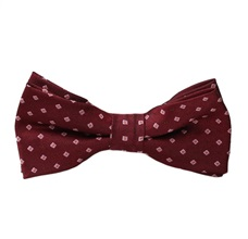 Garnet Boy's Bow Tie with Pink Squares