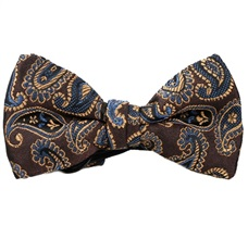 Brown Boy's Bow Tie with Blue Paisley