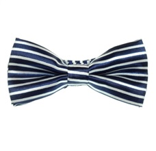 Deep Blue and White Stripes Boy's Bow Tie