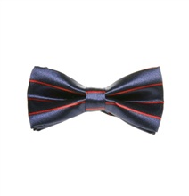 Deep Blue Boy's Bow Tie with Red Stripes