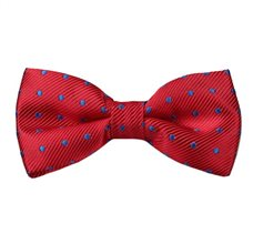 Red Boy's Bow Tie with Blue Dots