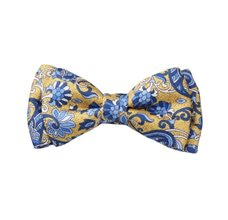 Yellow Silk Boy's Bow Tie with Flowers