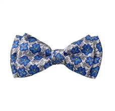 Blue Silk Boy's Bow Tie with Flowers