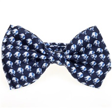 Dark Blue Silk Boy's Bow Tie with Elephants