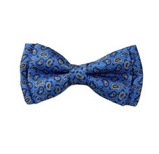 Royal Blue Silk Boy's Bow Tie with Paisley