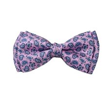 Silk Pink Boy's Bow Tie with Paisley