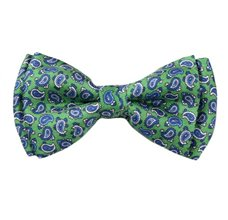 Green Silk Boy's Bow Tie with Paisley