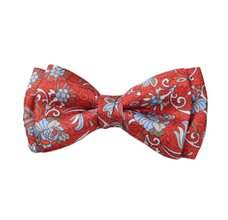 Dark Orange Silk Boy's Bow Tie with Flowers