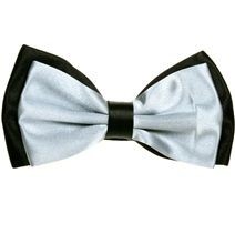 Black and Grey Satin Bicolor Bow Tie
