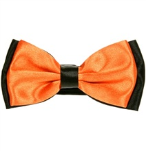Orange and Black Satin Bow Tie