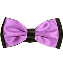 Purple and Black Satin Bow Tie