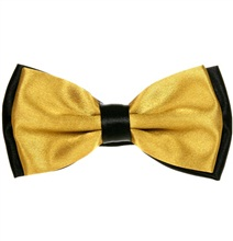Ocher and Black Satin Bow Tie