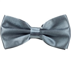Grey Satin Bow Tie
