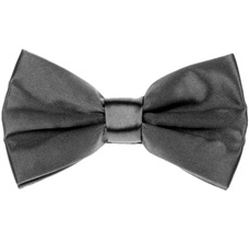 Dark Grey Satin Bow Tie